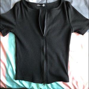 All black two way zipper crop top